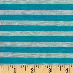Yarn Dye Jersey Knit Turquoise/Gray Stripe