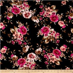Rayon Jersey Knit Florals Black