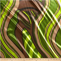 Charmeuse Satin Kinetic Lime/Brown
