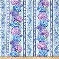 "Timeless Treasures Harmony 7.5"" Hydrangea Stripe Sky"