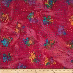 Indian Batik Butterflies Fuchsia
