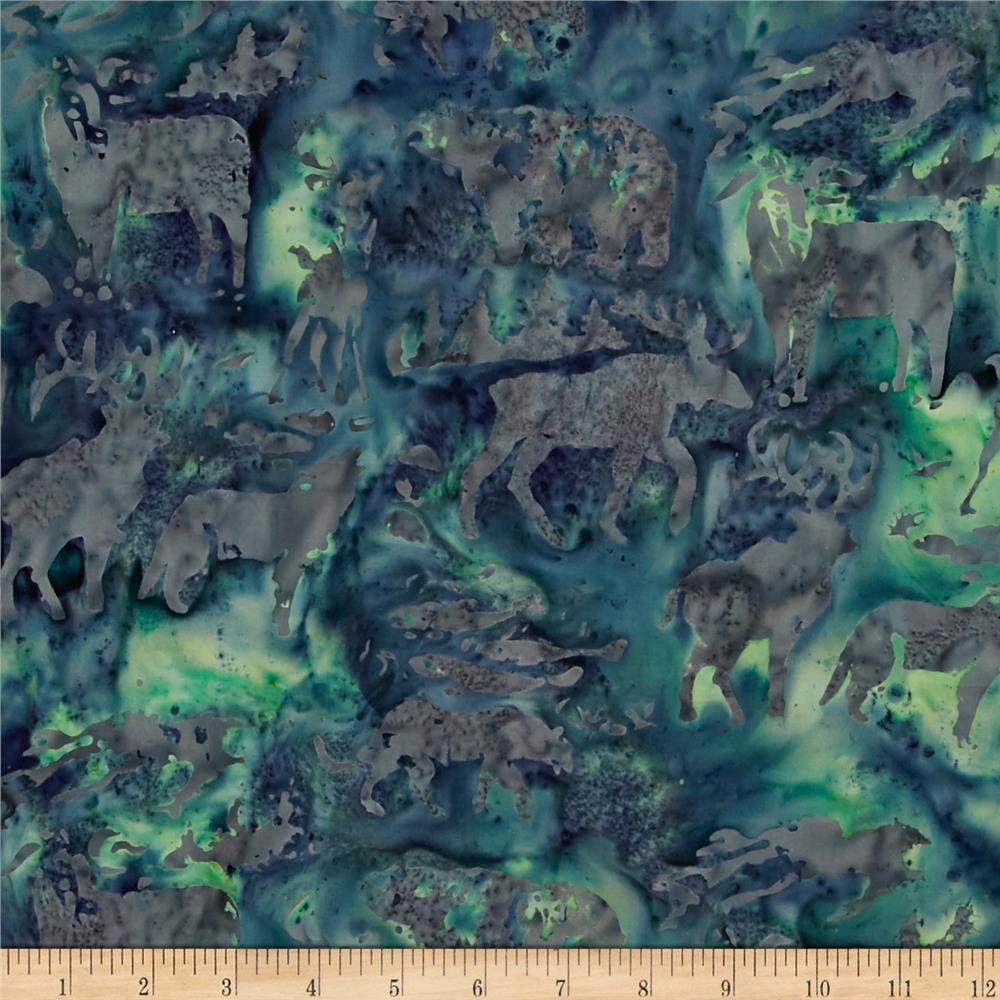 Island Batik Tinsel Woodland Animals Dk Blue/Gray
