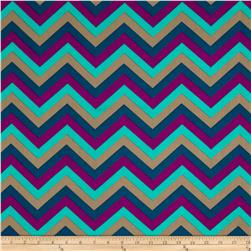 Stretch ITY Jersey Knit Small Chevron Purple/Teal