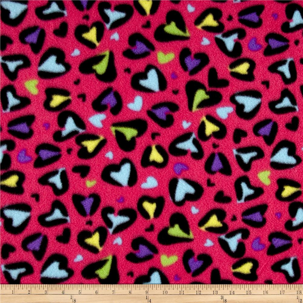 Pretty in Pink Wild Love Fleece Fuchsia Fabric By The Yard