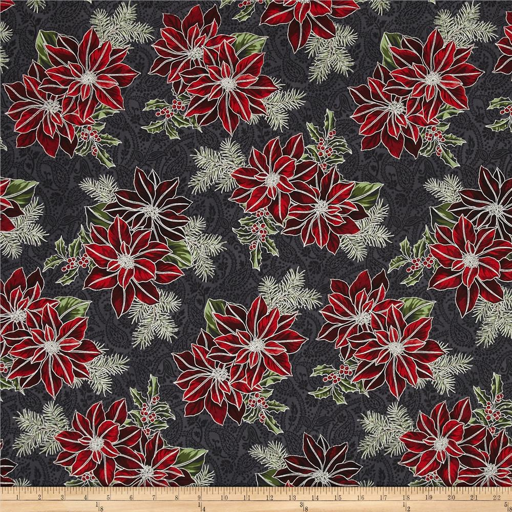 Good Tidings Paisley Poinsettia Charcoal/Silver