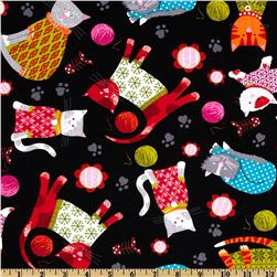 Kanvas Knitty Kitty Cozy Cats Black Fabric