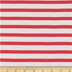 Rayon Jersey Knit Wide Stripe Red/White