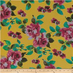 Rayon Blend Shirting Flowers Mustard/Pink
