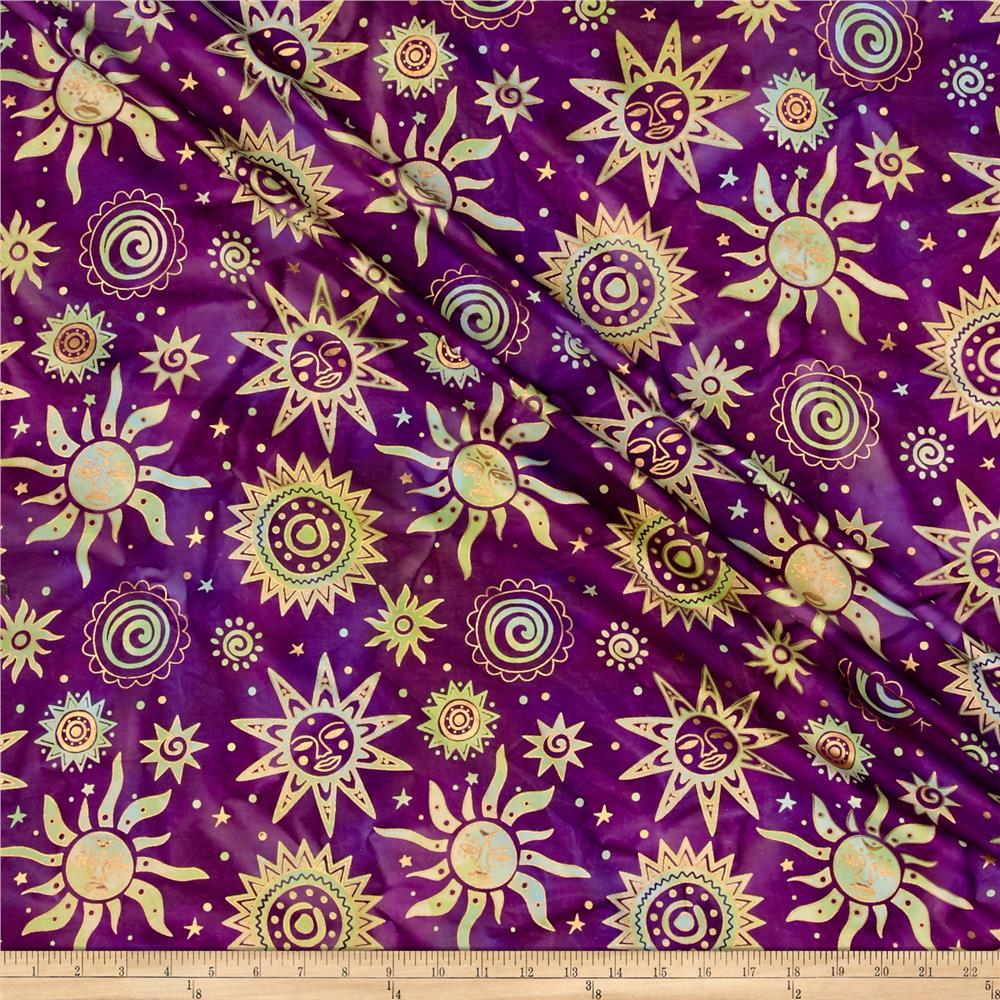 Indian Batik Odyssey Gold Sun Purple