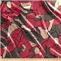 Charmeuse Satin Abstract Flower Black/Red