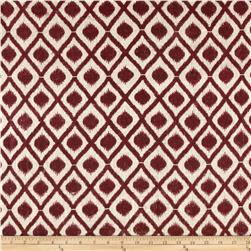 Bartow Diamond Printed Burlap Wine/Natural Fabric