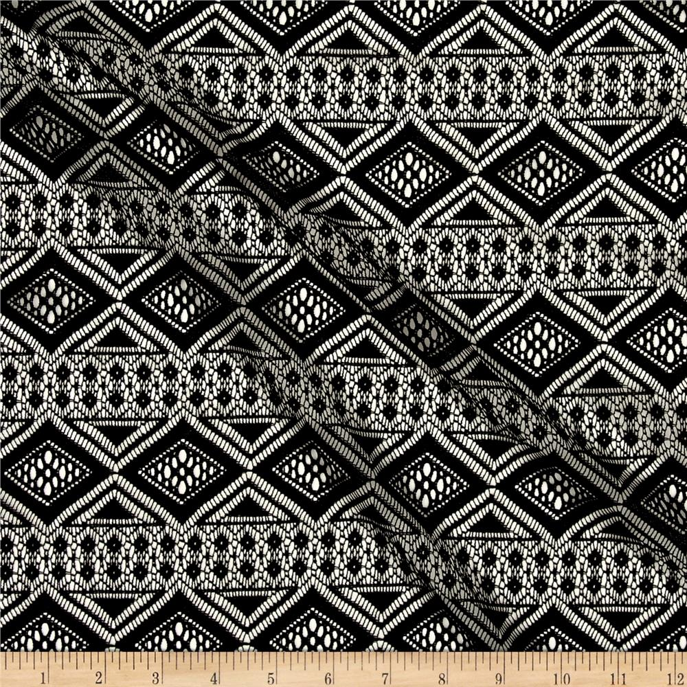 Crochet Lace Aztec Diamonds Black