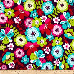 Punch Garden Flannel Large Flowers Retro