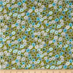 Michael Miller Sea Holly Meadow Puffs Olive