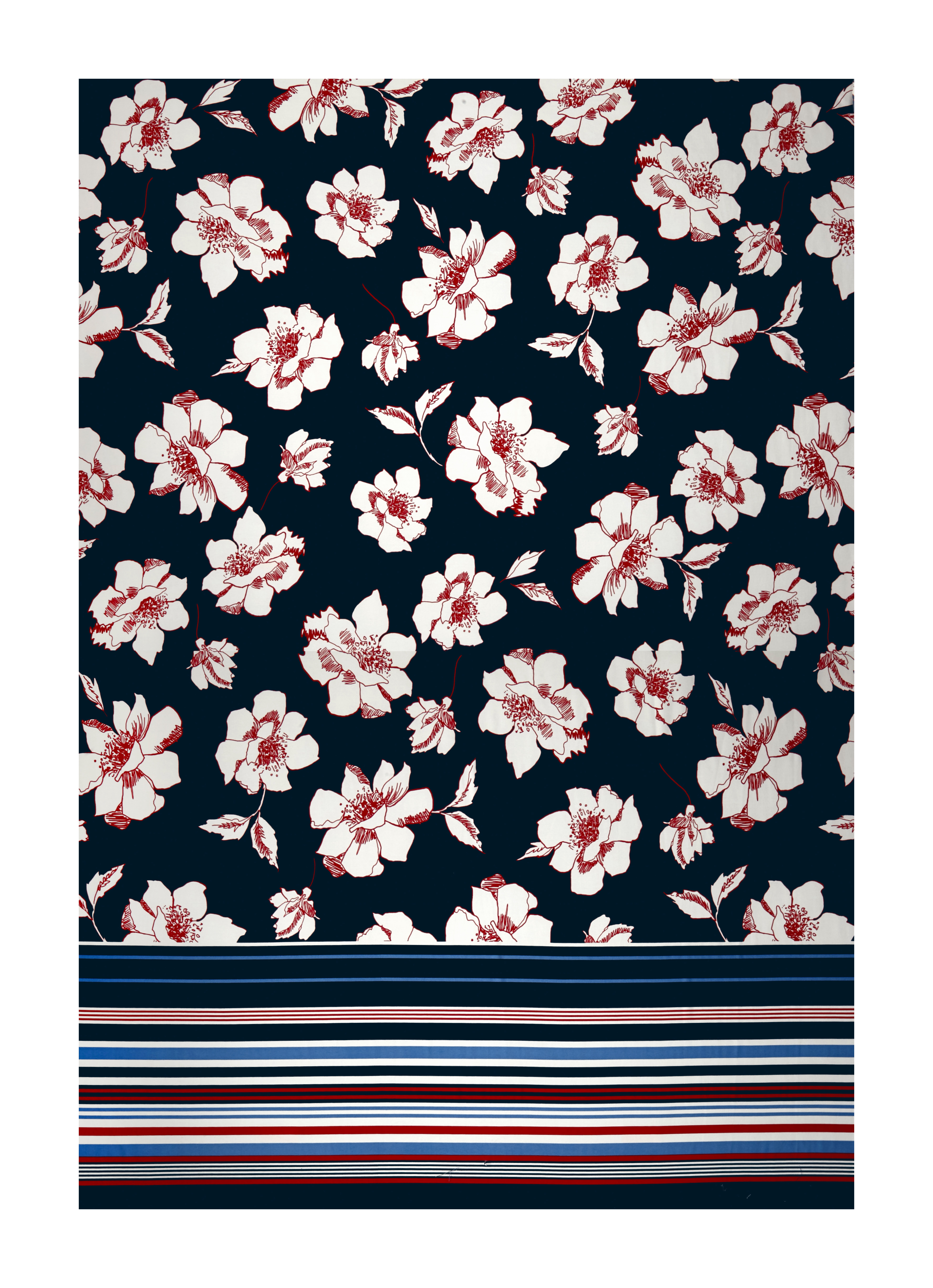 Sketched Floral Print Ity Knit Orange Blue And Pink Fabric
