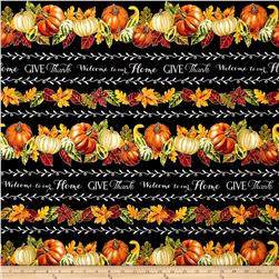 "Timeless Treasures Autumn Bounty Metallic 11"" Stripe Black"