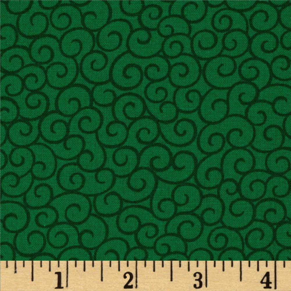 Moda Ho! Ho! Ho! Santa Swirls Christmas Tree Green