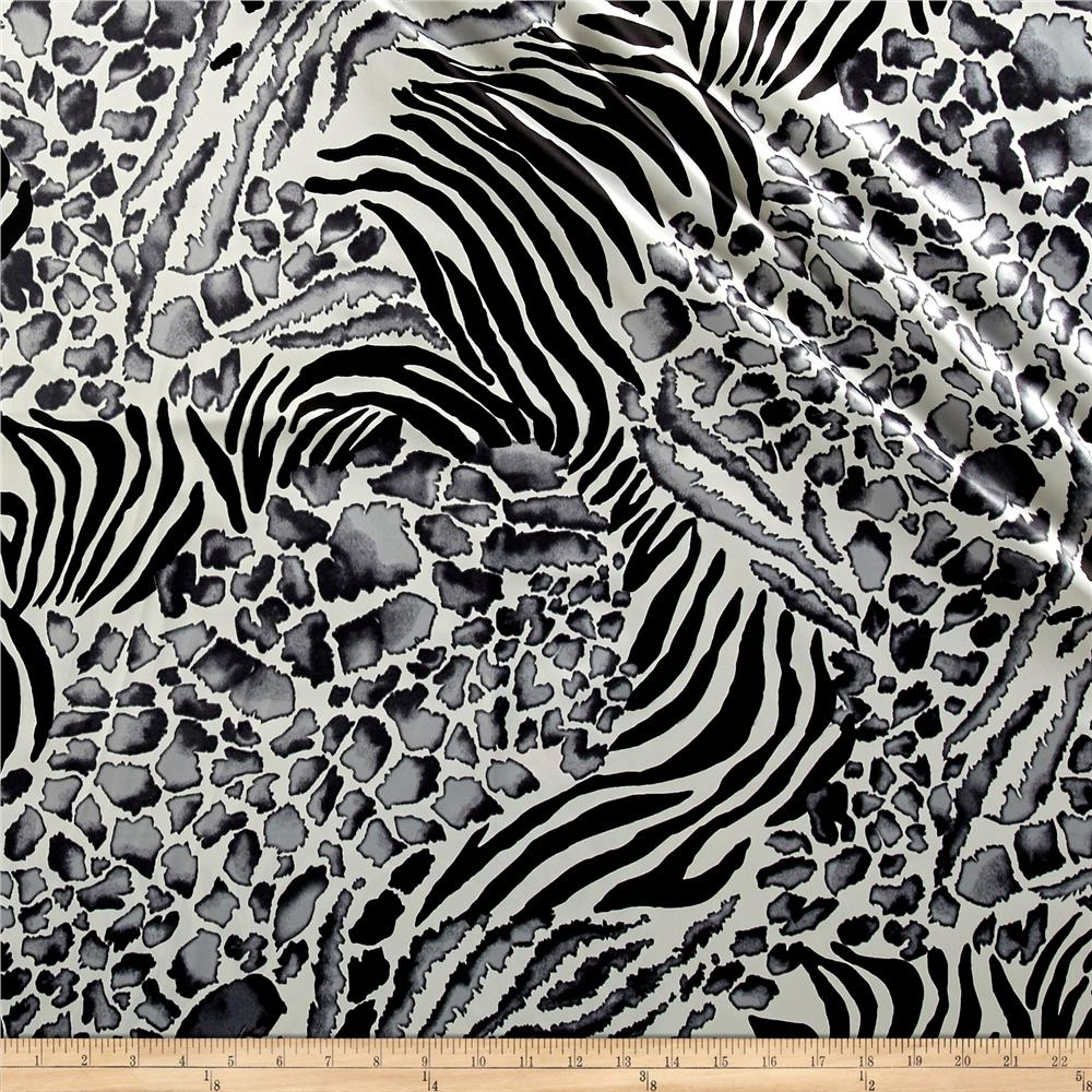 Satin Charmeuse Cheetah/Zebra Black/Gray Fabric