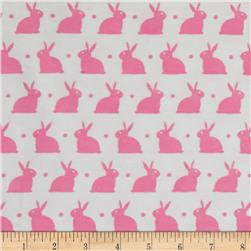 Bedtime Bunny Flannel Pink White/Pink Carnation