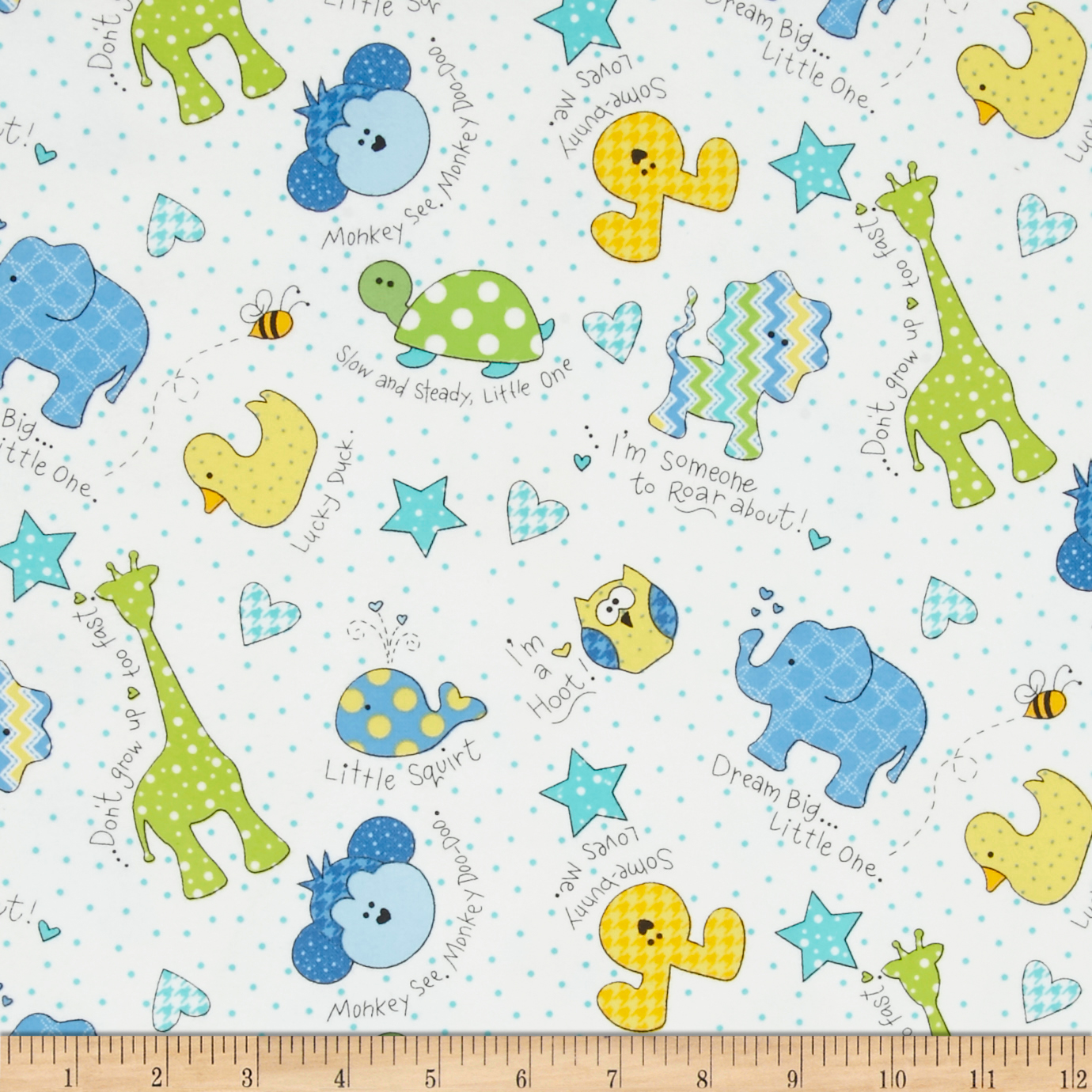 Kimberbell Little One Flannel Too! Tossed Little Ones Blue Fabric by E. E. Schenck in USA