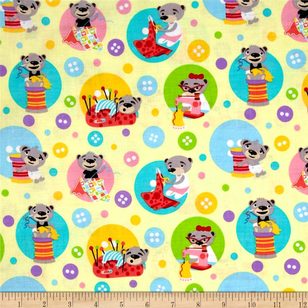 Michael miller kids sewing bears yellow discount for Cheap sewing fabric