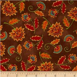 Moda Forest Fancy Fall Flowers Walnut Brown