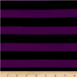 Yarn Dye Jersey Knit Stripe Black/Eggplant