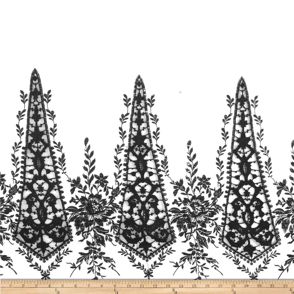 Embroidered Lawn Floral Border White/Black