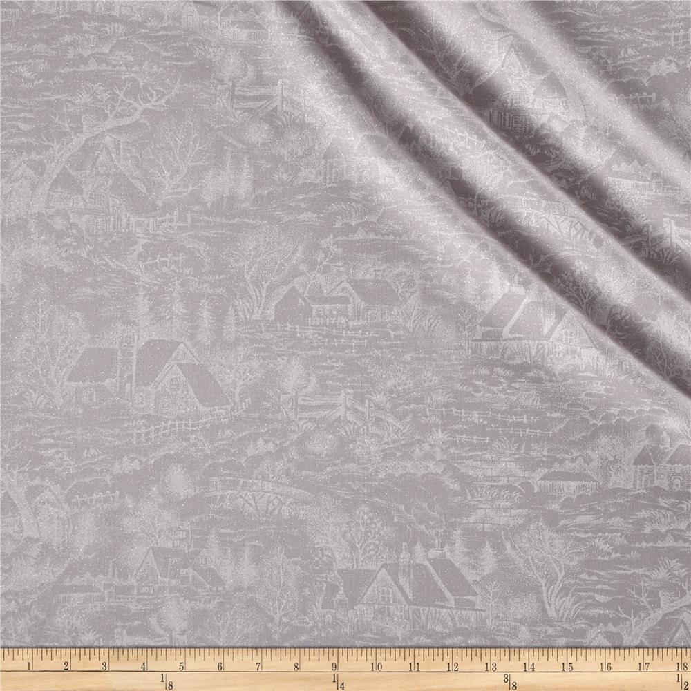 Moda Forest Frost Glitter Metallic Snowy Village Cloud