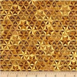 Robert Kaufman Winters Grandeur Metallic Honeycomb Grid Gold
