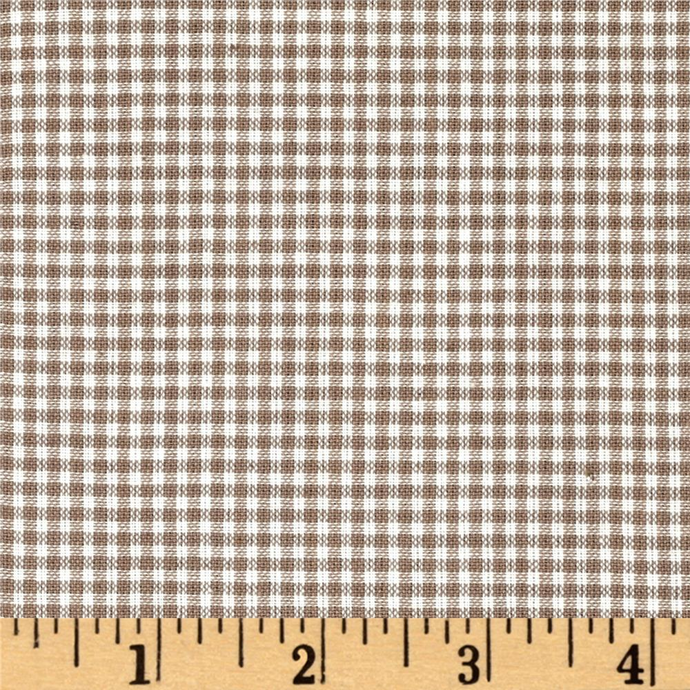 Rustic Woven Small Check Natural Taupe Fabric