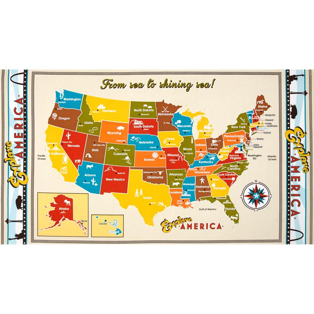Kaufman Explore America 24 In. Map Panel Vintage Fabric By The Yard