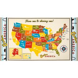 Robert Kaufman Explore America 36 In. Map Panel Vintage
