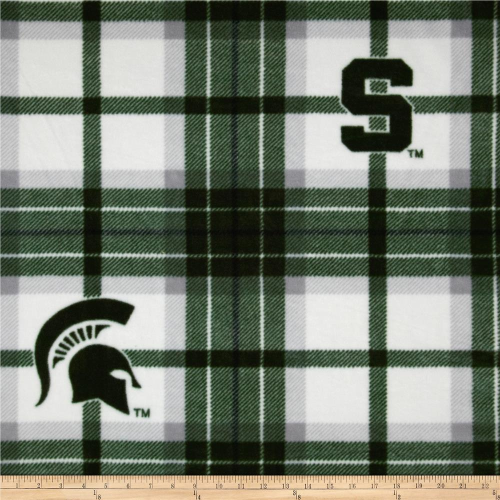 Michigan State University Fleece Plaid Green Fabric By The Yard