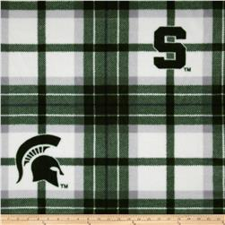 Michigan State University Fleece Plaid Green Fabric