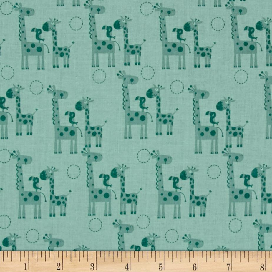 Riley Blake Giraffe Crossing 2 Giraffes Teal