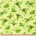 Comfy Flannel Happy Jumping Frogs Green