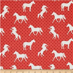 Michael Miller Equestrian Pony Up Red