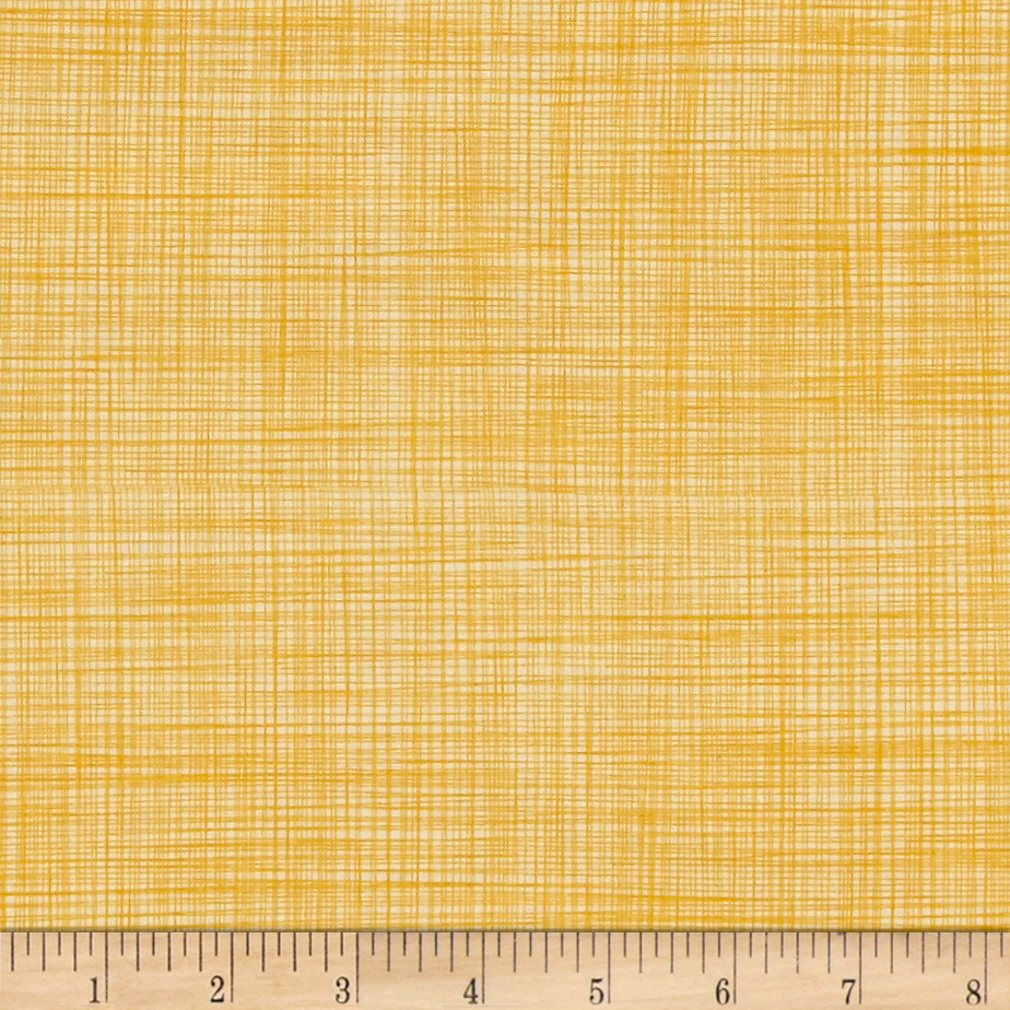 Poppies In Bloom Yellow Lily's Linen Yellow Fabric by E. E. Schenck in USA