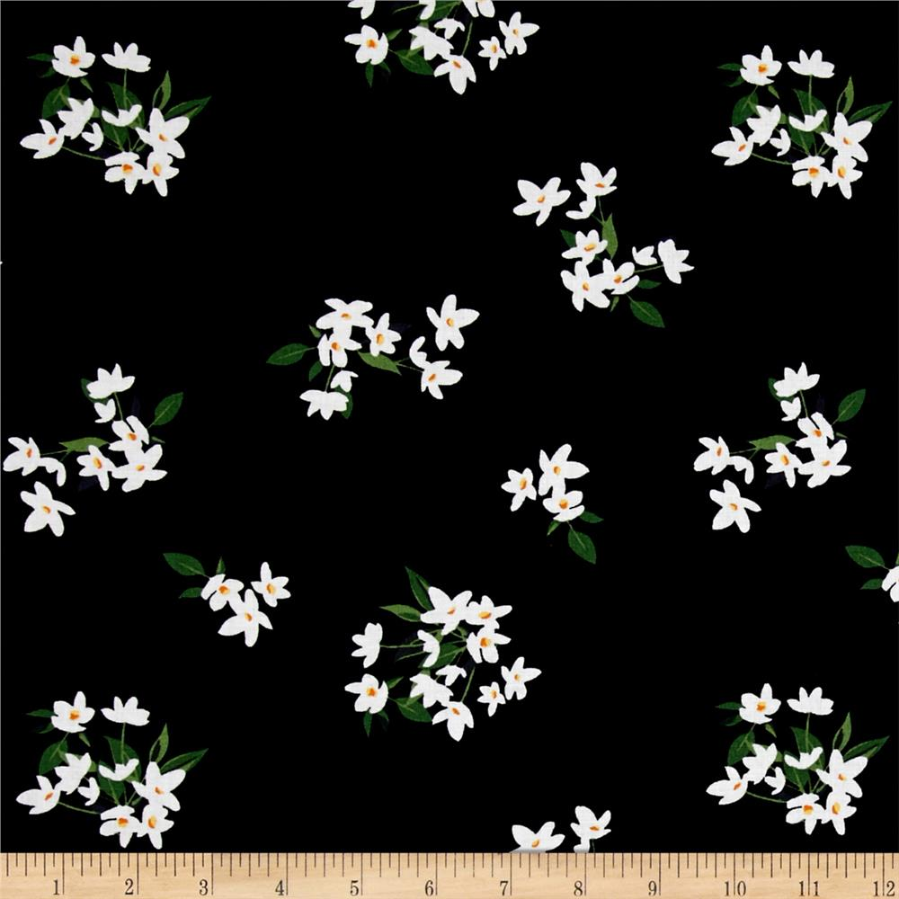 Michael Miller Bed of Roses Lily-Of-The-Valley Onyx Fabric By The Yard