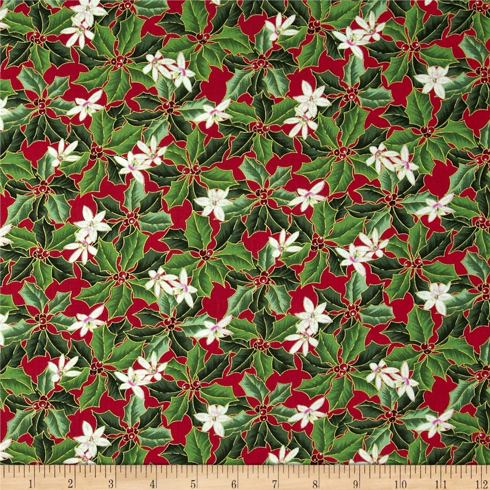 Christmas Star Holly & Flower Red