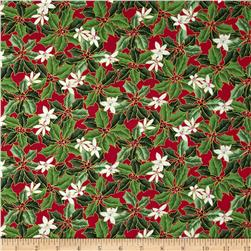 Christmas Star Holly & Flower Red Fabric