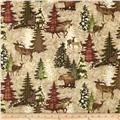 Alpine Woods Forest Visitors Tan/Burgundy