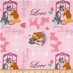 Disney Lady & The Tramp Allover Pink Fabric