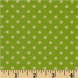 Whoo's Cute Flannel Dots Green