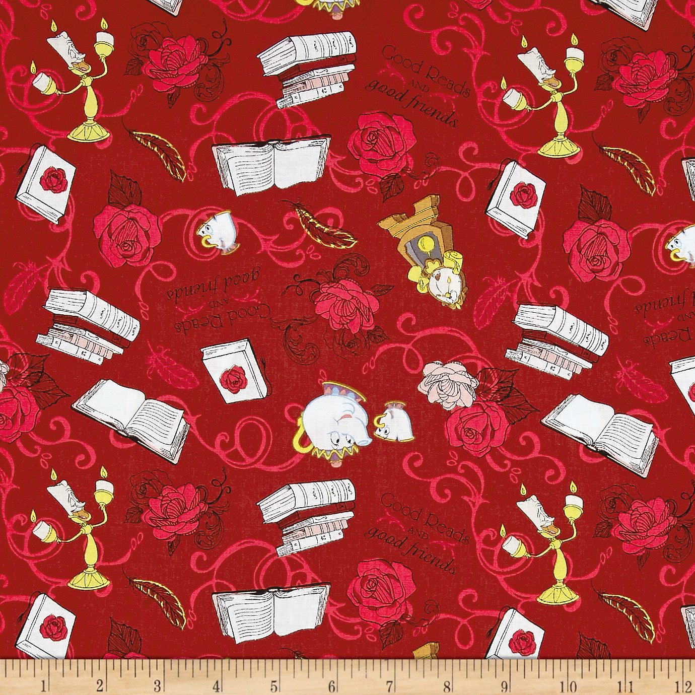 Disney Beauty and the Beast Friends Dark Red Fabric by Eugene in USA