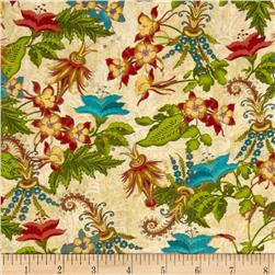 Tropical Travelogue Decorative Floral Cream/Multi