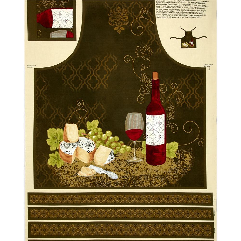 It's Wine O'Clock Adult Apron Panel Multi Fabric By The Yard