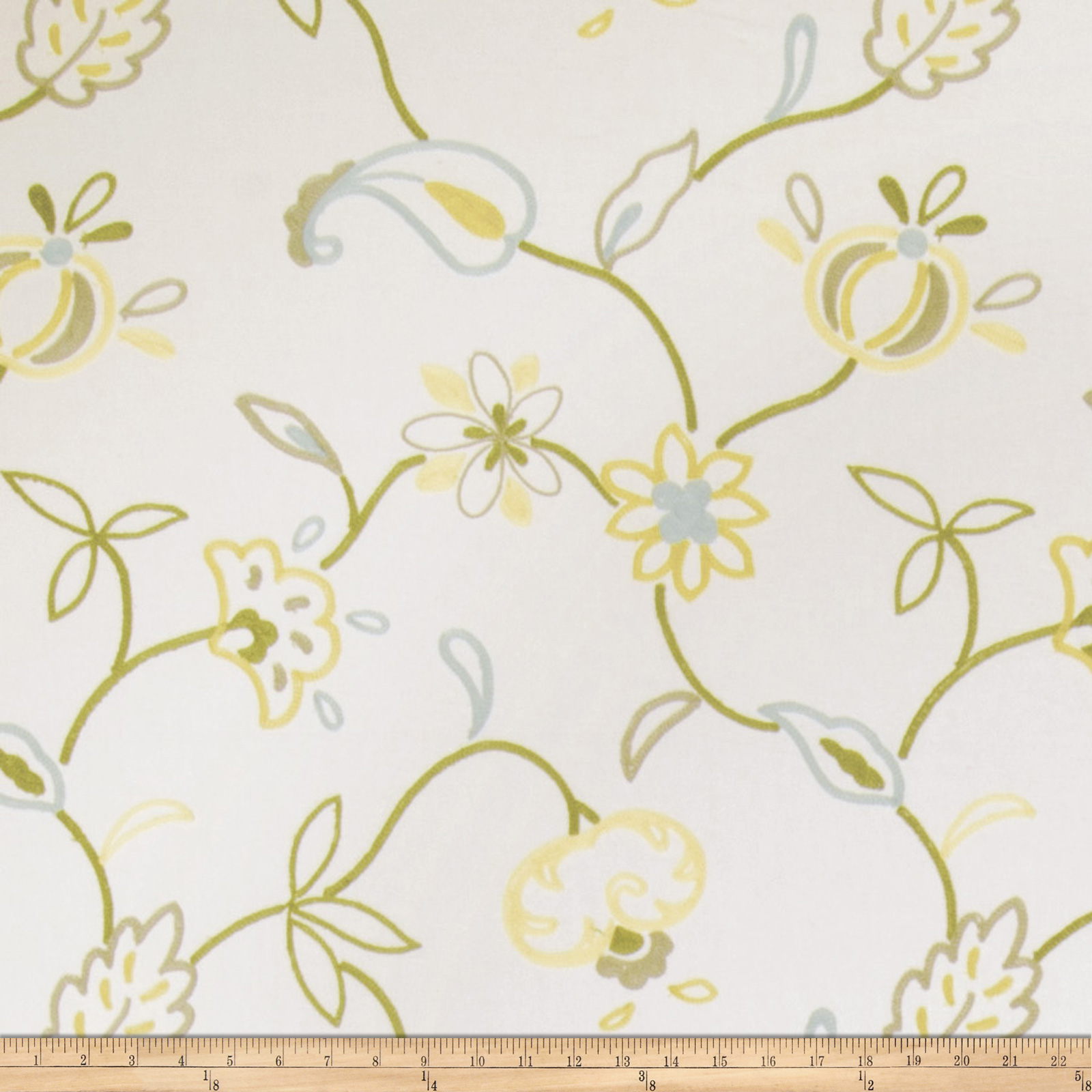 Jaclyn Smith Embroidered Cally Lemon Zest Fabric by Fabricut in USA