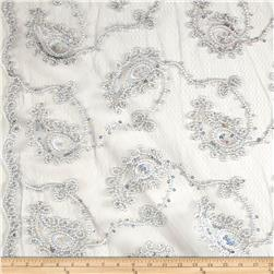 Coco Paisley Sequin Lace Silver